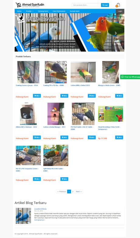 contoh website toko burung dari okejasaweb jasa website toko online